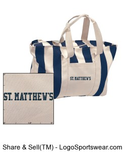 Large Striped Canvas Tote with Embroidered Logo Design Zoom