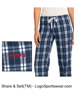 Juniors Flannel Plaid Pant with Embroidered Logo Design Zoom