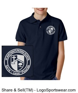 Youth 50/50 Ultra Blend Jersey Sport Shirt with Embroidered Logo Design Zoom
