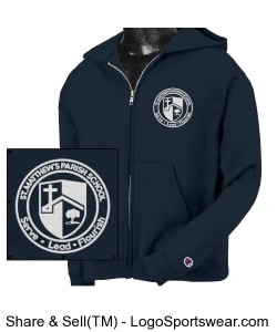 Uniform Approved Youth Champion Full-Zip Hooded Sweatshirt with Embroidered Logo Design Zoom